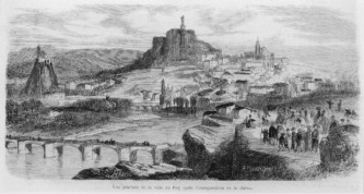 1870 le puy en velay vu du rocher de Espaly