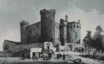 chateau de saint-vidal 1845, dessin de Tudot, lithographie de Mathieu